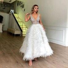 Yüksek son beyaz tüy abiye Sparkle kristal boncuklu ayak bileği uzunluğu örgün parti elbiseler Vintage balo abiye