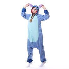 Stitch Kigurumi Unisex Adult Onesie Pajama Cute Jumpsuit Blue Animal Sleepwear Cartoon Anime Overall Women Men Home Wear Outfit