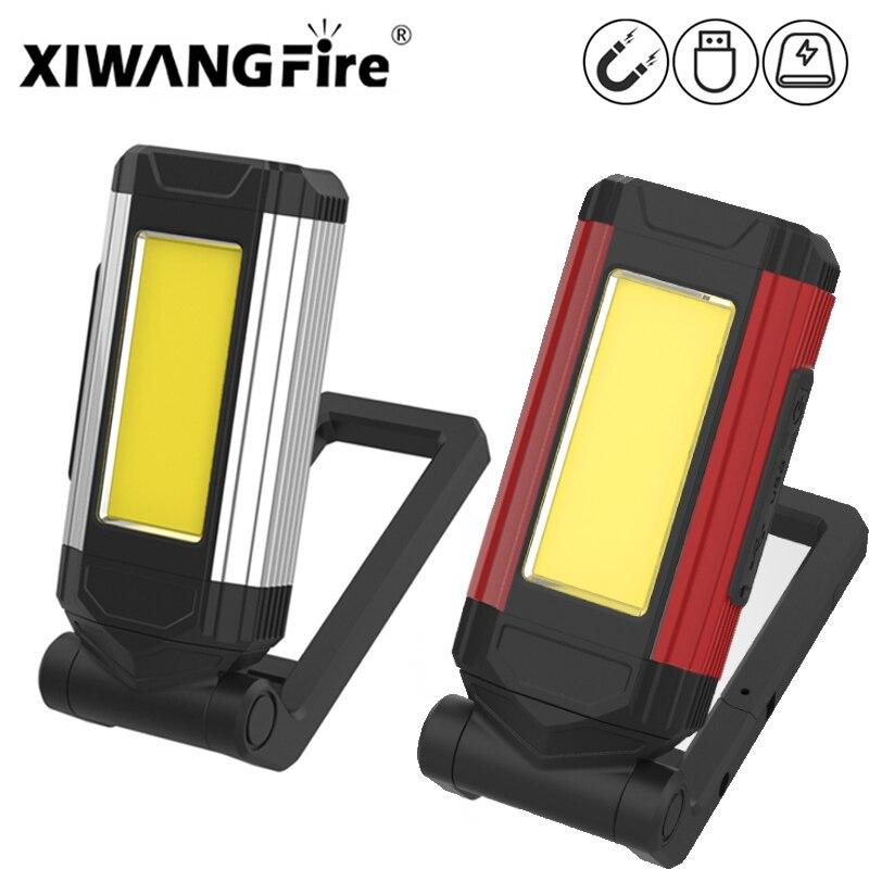 Супер яркий Портативный COB рабочий светильник USB с магнитными разъемами для Перезаряжаемые светодиодный вспышка светильник походный свети...