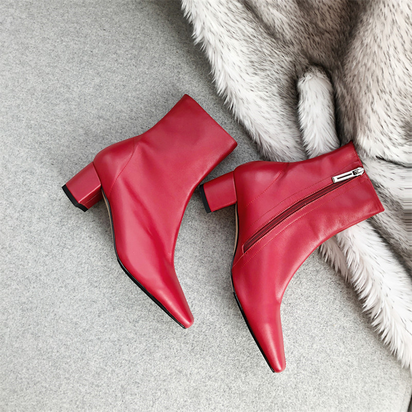 Meotina Winter Ankle Boots Women Natural Genuine Leather Block High Heel Short Boots Zip Square Toe Shoes Lady Autumn Red 33-43