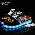 Светящиеся кроссовки для детей и взрослых  размер 30-44  обувь со светодиодной подошвой с подсветкой для детей  мальчиков  девочек  светящаяся ...