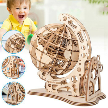 Robotime 147pcs DIY Rotatable 3D Globe Laser Cutting Wooden Puzzle Game Assembly Toy Gift for Children Teens Adult WT001 3d dragon woodcraft construction kit diy dragon wooden puzzle game assembly toy gift for children adult children