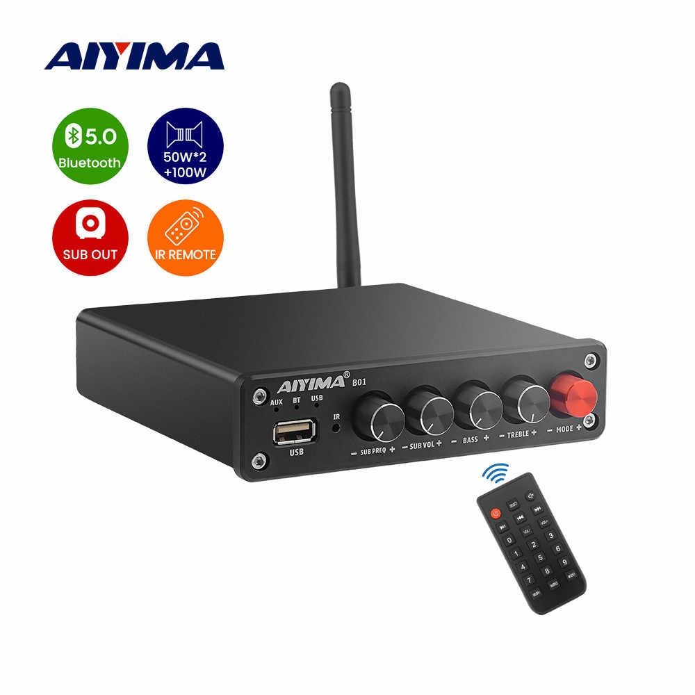Aiyima Bluetooth 5.0 Subwoofer Digital Power Amplifier 50Wx2 + 100W TPA3116 Hi Fi Stereo 2.1 Suara Speaker Amplifier Audio USB amp
