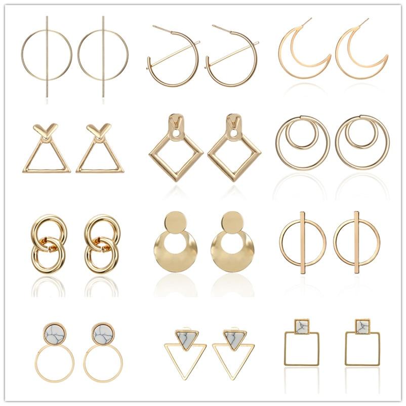 New Minimalist Jewelry Exquisite Geometric Twisted Irregular Round Triangle Matte Metal Mini Stud Earrings For Women Girl Gift