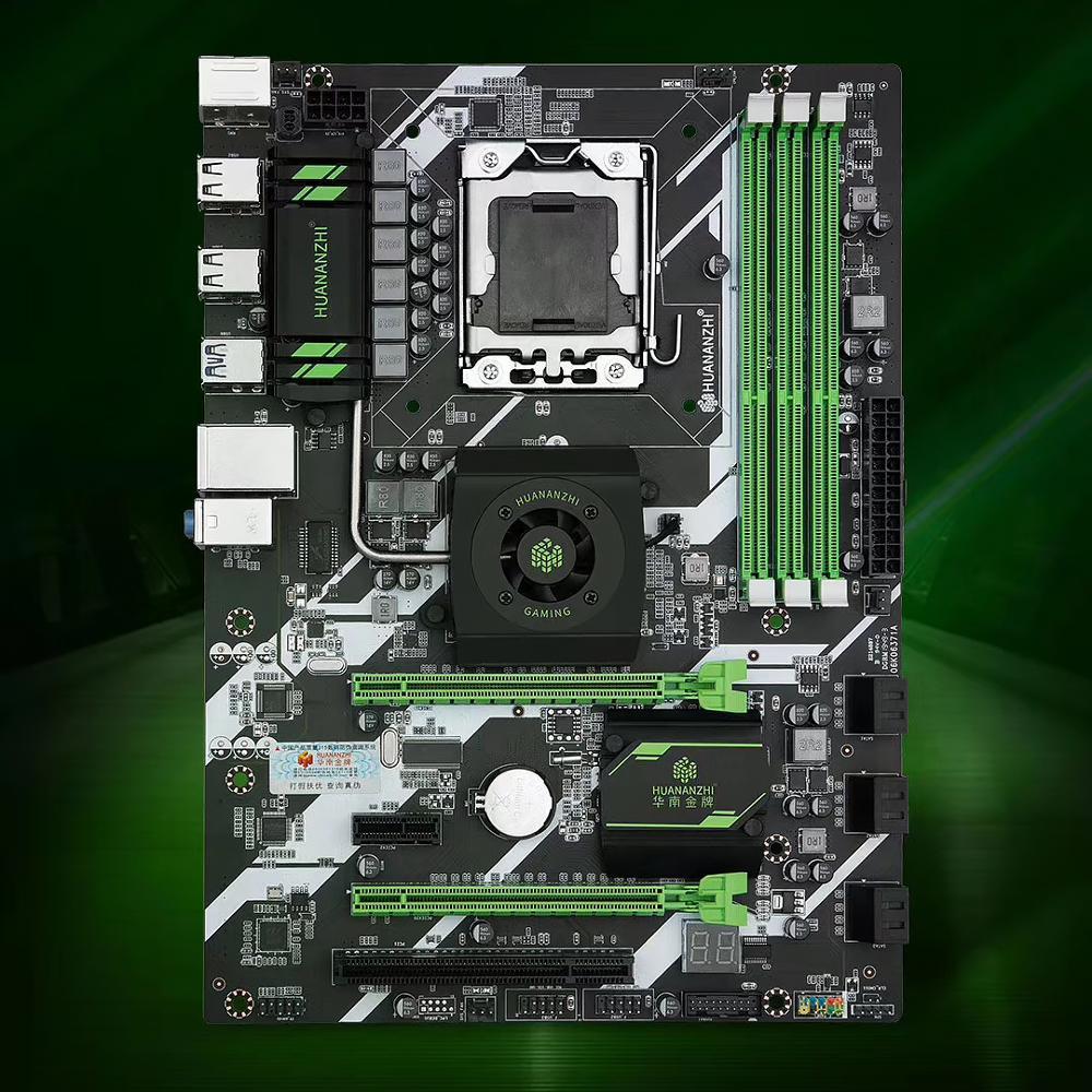 HUANAN ZHI X58 DELUXE placa base X58 para Intel LGA 1366 DDR3 1066/1333MHz 48GB SATA2.0 USB3.0 ATX LGA1366 placa base INTEL XONE L5640 CPU INTEL L5640 procesador seis core 2,26 MHZ LeveL2 12M para lga 1366 montherboard