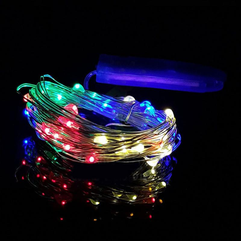 OOBesT 1M String Light 10 LED Beads Lighting String Colorful Copper Wire New Year Christmas Tree Wedding Party Decoration 2