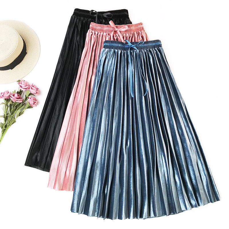 Wasteheart Autumn Winter Blue Pink Silver Women Skirts High Waist Pleated Mid-Calf Skirt Vintage A-Line Long Skirts Sashes