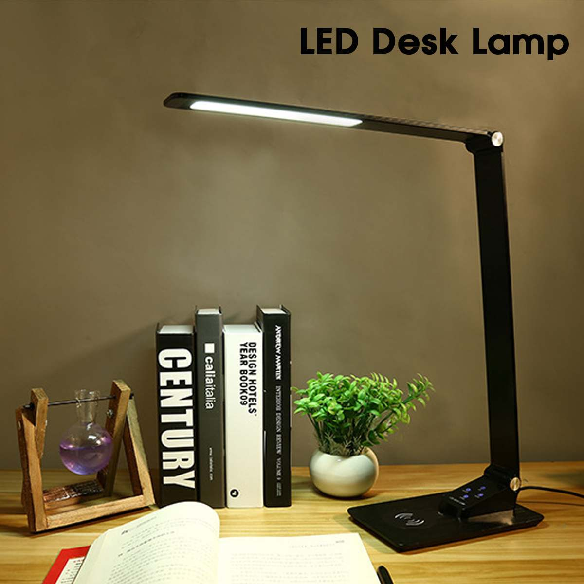 LED Table Lamp Wireless Charger Mobile Phone Foldable Touch Desk Lamp Dimmable Reading Light Table Lamp Digital Display Screen