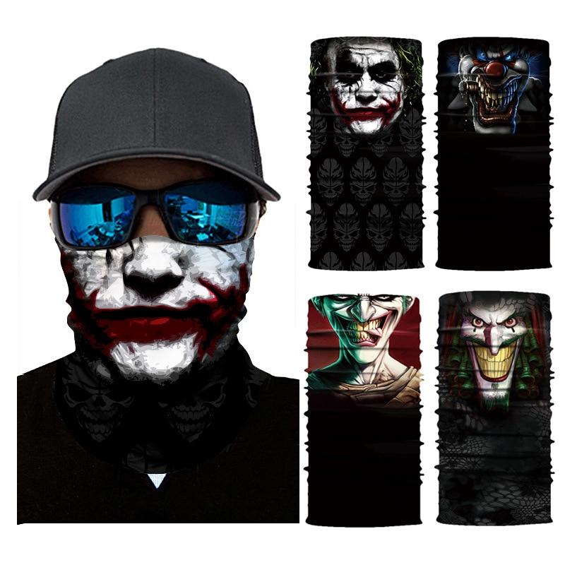 3D Seamless Balaclava Joker Scarf Neck Face Mask Ghost Skull Skeleton Head Bandana Shield Headband Headwear Bandanas Men Bicycle