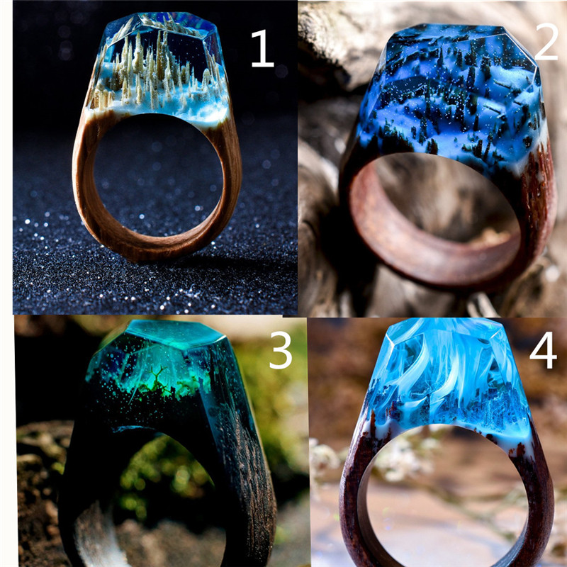 Resin Ring Glitter Resin Ring Blue Sky Ring Unique Resin Jewelry By isewcute 80s Fashion Inspired Rainbow Ring Under 25 Gift for Her