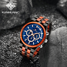 KunHuang Sports High-end Wooden Men's Watch Large Dial Quartz Watches