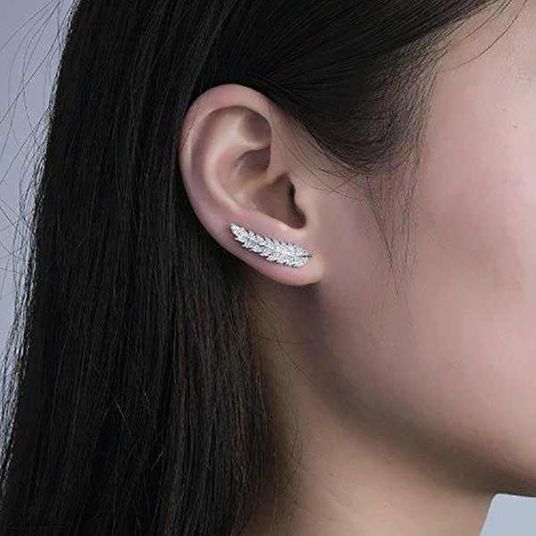 Thời Trang Hàn Quốc AAA Cubic Zircon Hình Hoa Tai Đính Đá Nữ Phổ Biến Lá Đám Cưới Sinh Nhật Món Quà Trang Sức D'oreille