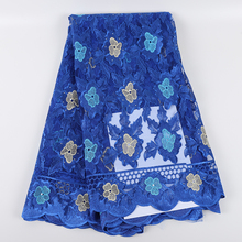Best Selling African Tulle Lace Fabrics With Stones 2019 Embroidery High Quality Nigerian Voile Lace Fabric With Beads DIY Dress