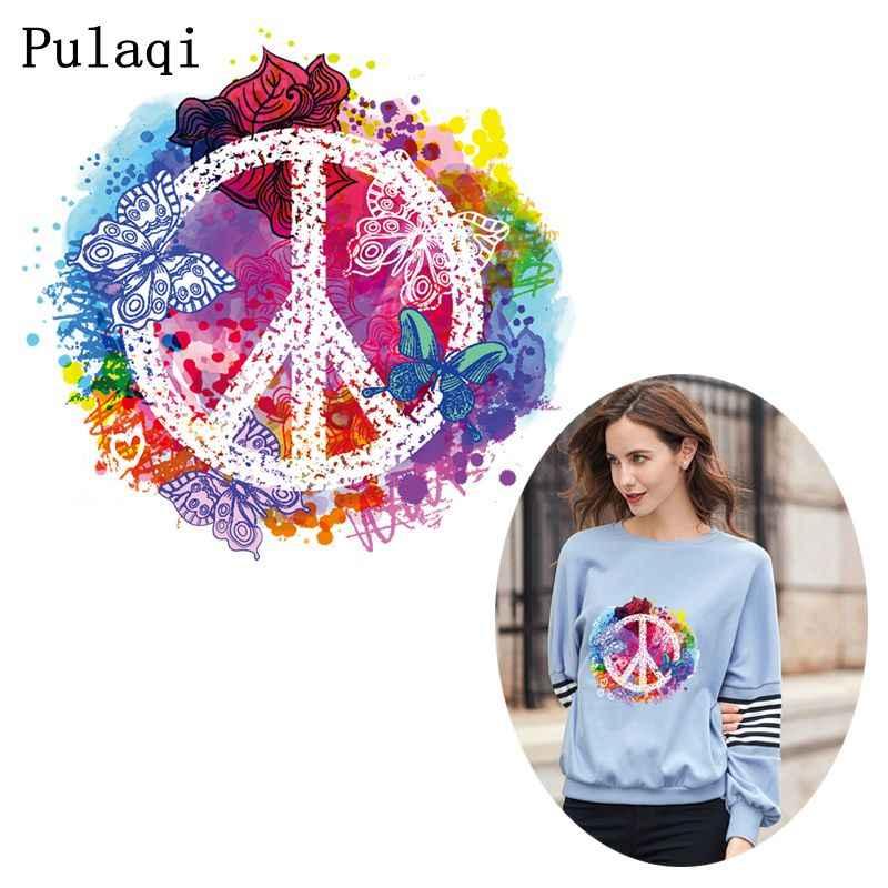 Pulaqi Kleurrijke Vrede Ijzer Op Heat Transfers Vinyl Thermische Warmteoverdracht Patch Voor Kleding Strijken Sticker Kleding Diy Applique