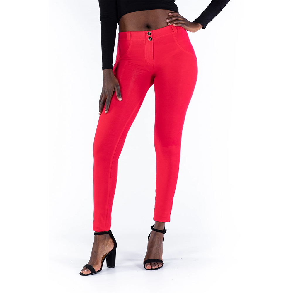 Melody Four Ways Stretchable Red Mid Rise Leggings Push Up Sexy Women Trousers Sport Leggings With Super Elastic