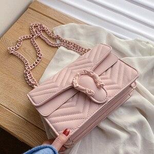 Image 4 - Bolso de marca de moda de color caramelo para Mujer, bandolera de cuero de PU suave de diseñador con cadena, Bolso de hombro tipo bandolera, Bolso de mano para Mujer