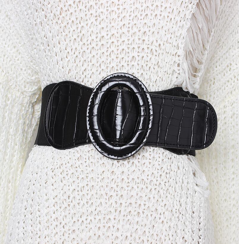 Women's Runway Fashion Elastic Pu Leather Cummerbunds Female Dress Corsets Waistband Belts Decoration Wide Belt R1991