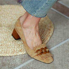 Retro tasseled thick heel ladies high heel camel deep single shoes spring and autumn ladies formal shoes