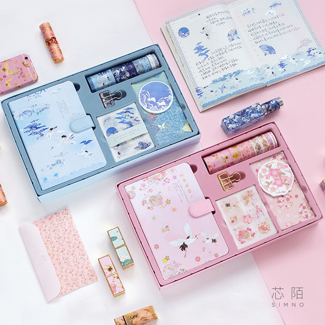 1set Chinese Antiquity Style Portable Traveler Journal Notebook Stationery Set Gift  Bulleti Journal Clips Stickers Tape Box
