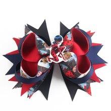 5 Inch Cute cartoon characters DIY manual superwoman bowknot hairpin hair bow back to school girls accessories