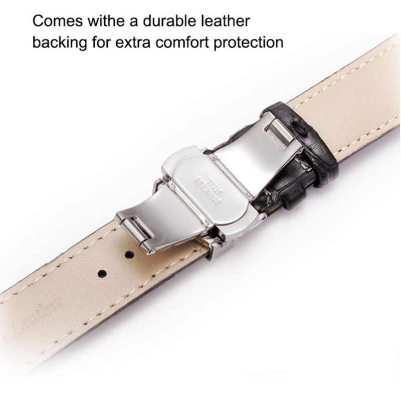 20mm pulseira de couro genuíno preto marrom universal pulseira de relógio borboleta fivela banda pulseira de pulso das mulheres dos homens dom