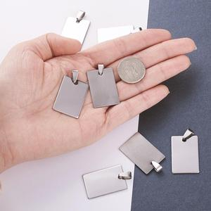 Image 4 - 50pcs Stainless Steel Tag Metal Stamping Blank Tags with Snap on Bail for Charm Pendant Jewelry DIY Making Polished