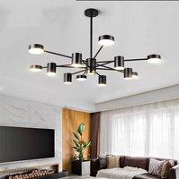 Nordic Art LED Chandelier Indoor Decor Iron Acrylic Black Chandelier modern Living Room Dining Room Bedroom Hanging Lamp Fixture