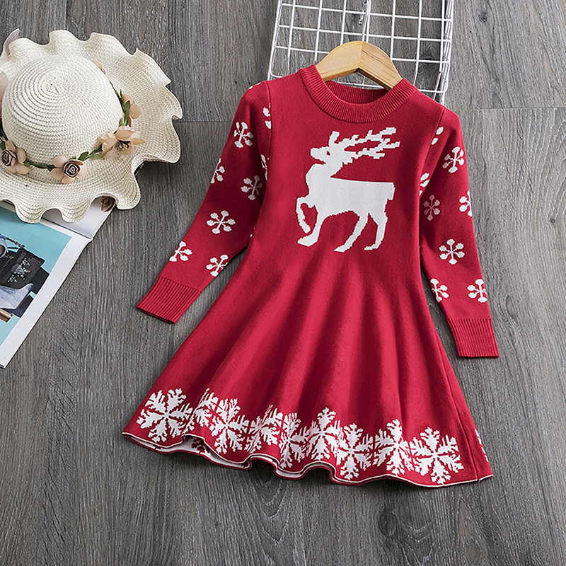 Girls Christmas Dress Long Sleeve Printed Snowflake New Year Costume Xmas Clothes Kids Dresses For Girls Marry Christmas Sweater 2