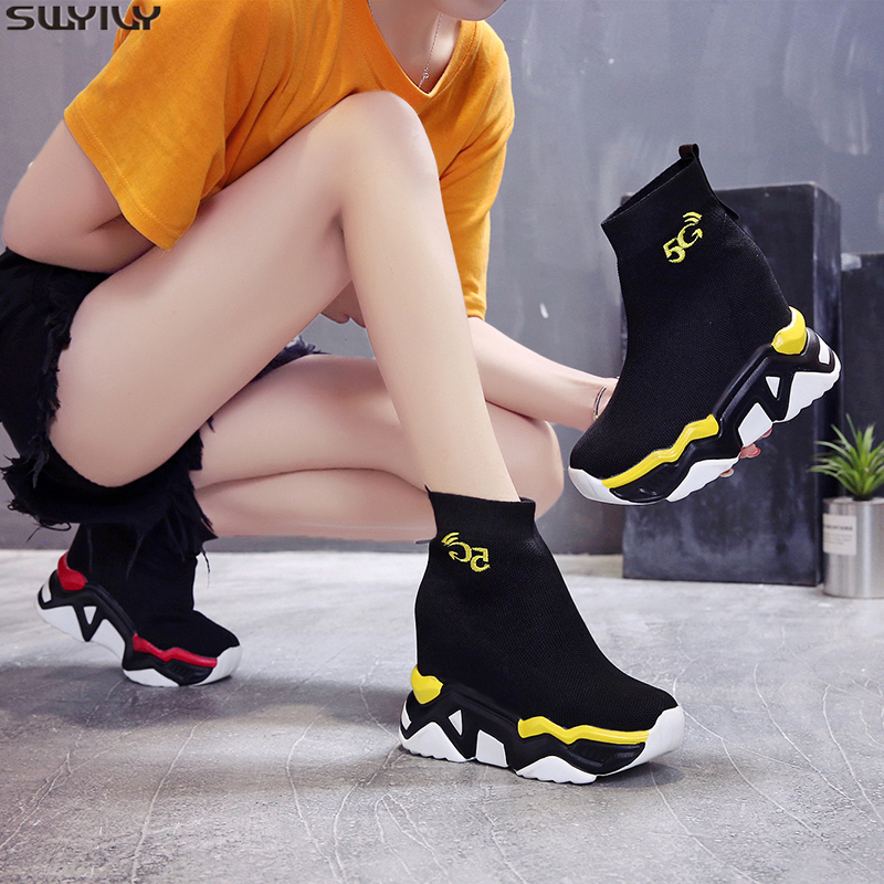 SWYIVY New Mesh Martin Boots Women's Shoes T New 2019 Autumn Breathable Platform Womens Boots Ankle Female Shoes Slip On Booties