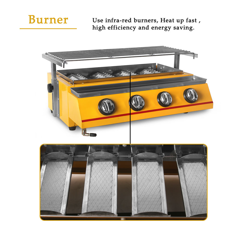 Image 5 - 2/3/4/6/8 Burners Gas BBQ Grills Infrared gas burner Kitchen Barbecue Grill Tools For Outdoor churrasqueira Easily CleanedBBQ Grills   -