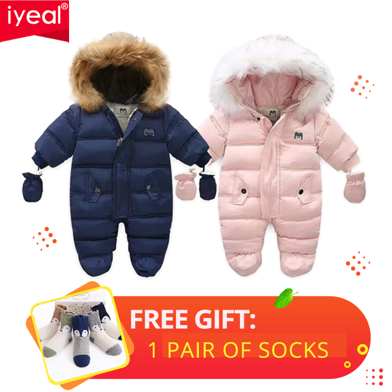 IYEAL Winter Baby Clothes With Hooded Fur Newborn Warm Fleece Bunting Infant Snowsuit Toddler Girl Boy Snow Wear Outwear Coats