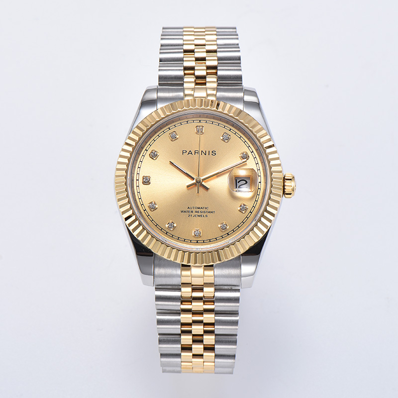 Parnis 39mm sapphire Gold dial sapphire glass date Miyota 8215 Automatic movement Men's Watch