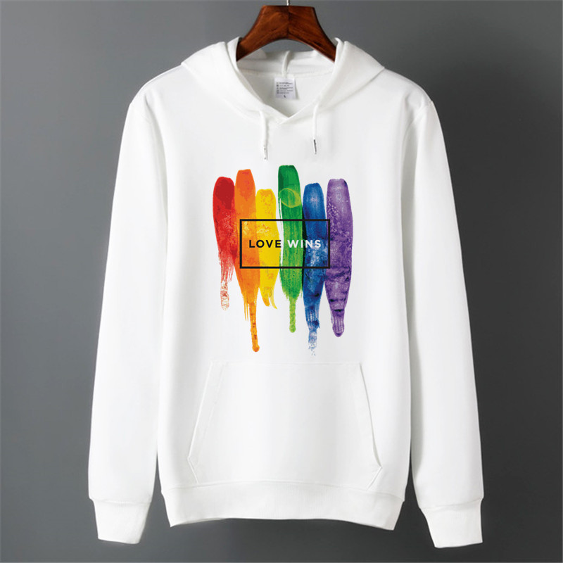 Men Pride Lgbt Gay Love Lesbian Rainbow Fleece Hoodies Sweatshirts Unisex Winter Harajuku Love Is Love Sweatshirts Hoodies