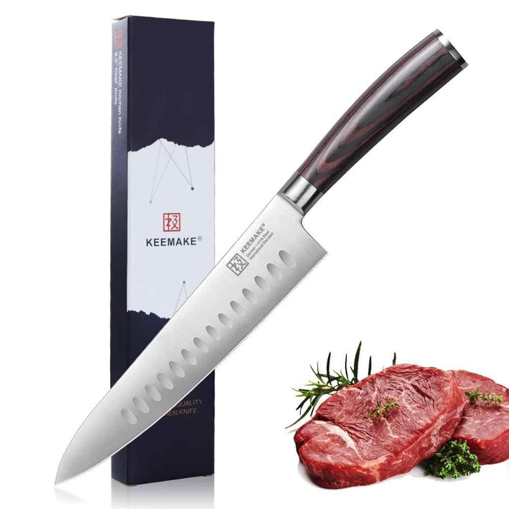 """KEEMAKE profesyonel 8.5 """"şef bıçağı alman 1.4116 çelik bıçak mutfak bıçakları renk ahşap saplı keskin et kesici şef bıçağı"""