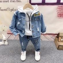 Boys Cowboy Jacket, Hoodie, Jeans Sets 3pcs Boys Sport Suits Children Cotton Spring Autumn Sets Kids Clothes Sets 2-6years