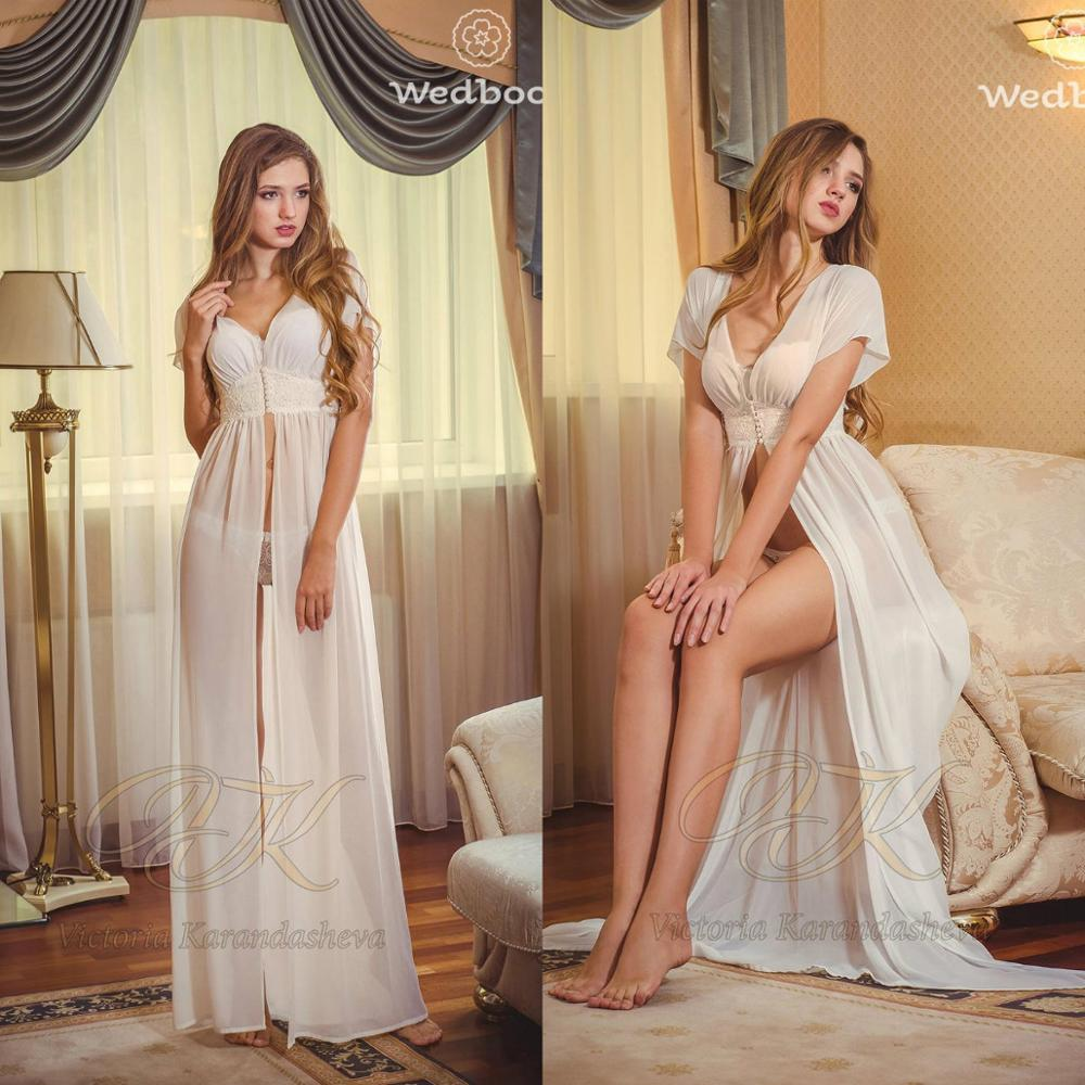 Bridal Nightgown Night Dress Chiffon Short Sleeves Nightgown Nightdress Women Sleepwear Nightwear For Bridal Boudoir Dress