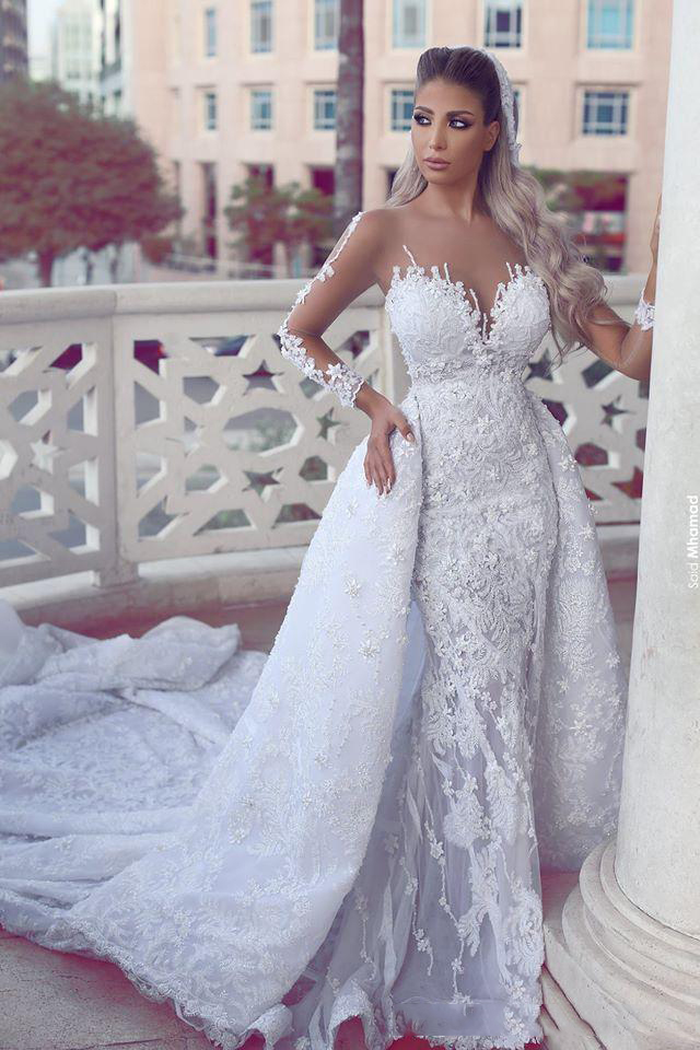 New Long Chapel Train Wedding Dresses Luxury Detachable Train Style Mermaid Bridal Gowns Sheer Back With Appliques Buttons 2020