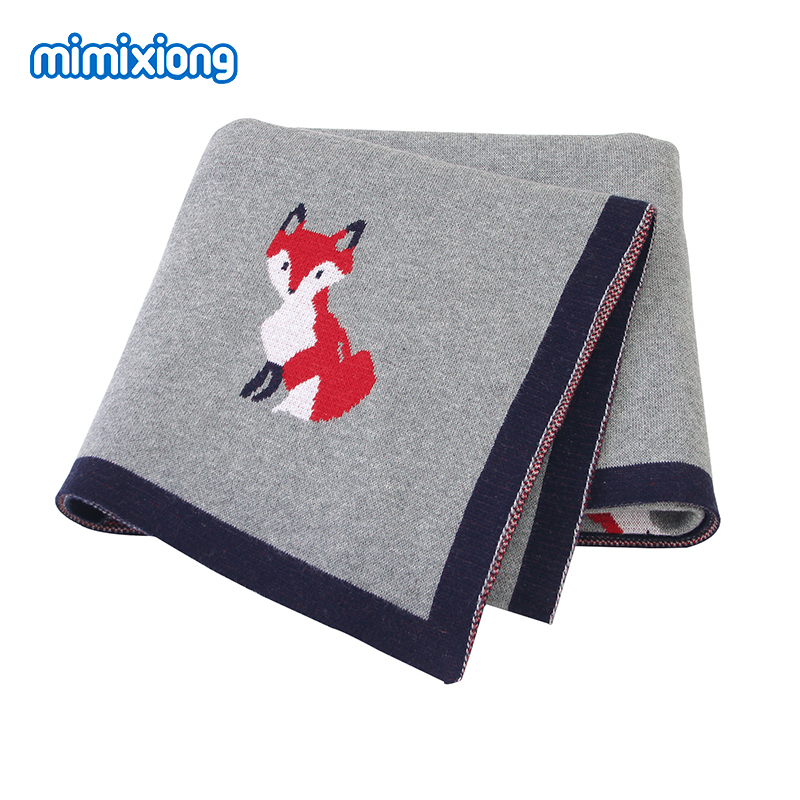 Baby Blankets Knitted Cute Fox Newborn Swaddle Wrap Super Soft Toddler Sofa Crib Bedding Quilts 100*80cm Infant Stroller Blanket