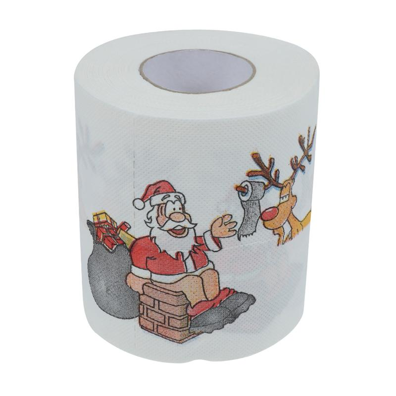Christmas Themed Tissue Roll Cartoon Printed Toilet Paper Festival Paper Towel For Kitchen Bathroom (Santa And Elk)