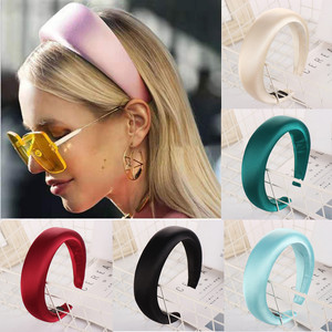 Hair Accessories Non-slip Satin Headband for Women Solid Color Plastic Hair Hoop Sponge Hairbands For Girls Hair Band