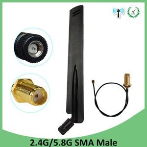 Image 1 - 2.4GHz 5GHz 5.8Ghz wifi antenne 8dBi SMA connecteur mâle wi fi 2.4G 5G 5.8G antenne 2.4 Ghz + 21cm RP SMA câble queue de cochon
