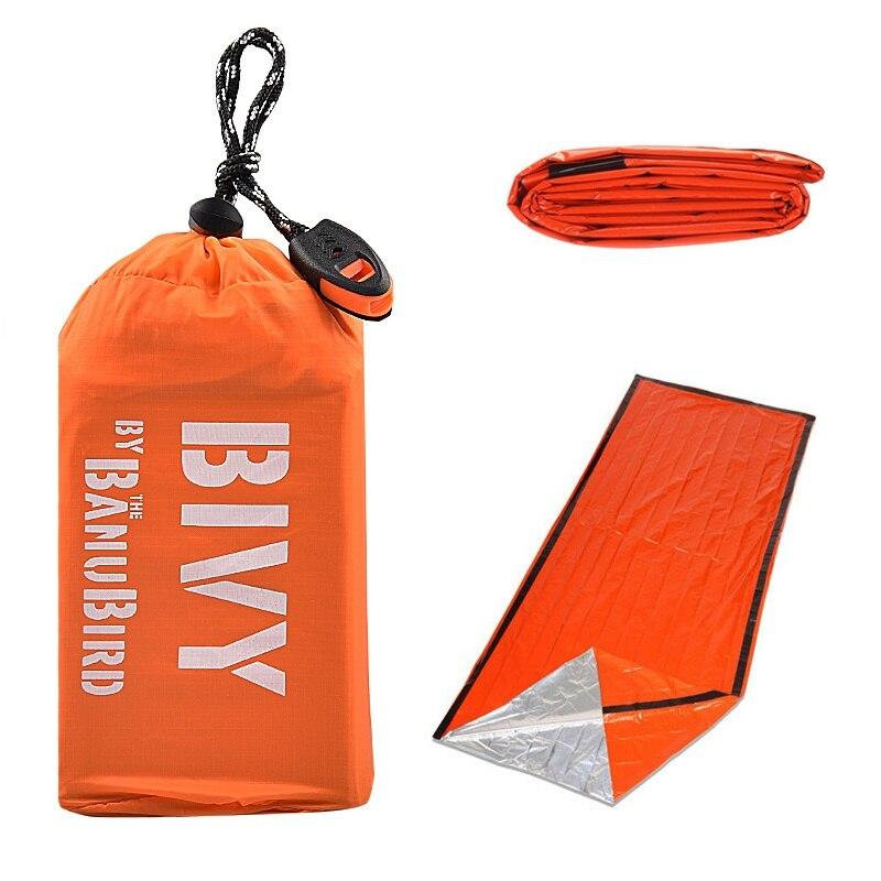 2-Pack Notfall Schlafsack Thermo Wasserdicht Outdoor Überleben Zelten Tasche
