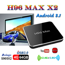 Best stable smart tv set top box S905X2 Quad Core 4GB 64GB H96 MAX X2 android 8.1 boxes H.265 USB 3.0 Bluetooth media Player