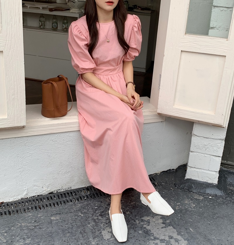 H8fe3ee19668e49b499402da90293e3ccM - Summer O-Neck Short Sleeves Elastic-Waist Calf Length Solid Dress