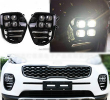 For KIA Sportage QL kx5 2016 2017 2018 LED Fog Light Lamp Daytime Running Light Set Auto Car White LED DRL Light For KIA KX5 цена 2017