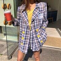 TVVOVVIN Women Blazers Sets 2019 Spring Korea Plaid Casual Coats Long Sleeve Jackets High Waist Shorts Two Piece Suits F215