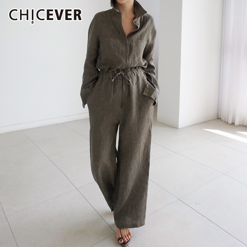 CHICEVER Summer Vintage Jumpsuit Women Lapel Collar Half Sleeve Bandage Bow Loose Full Length Plus Size Jumpsuits Fashion New
