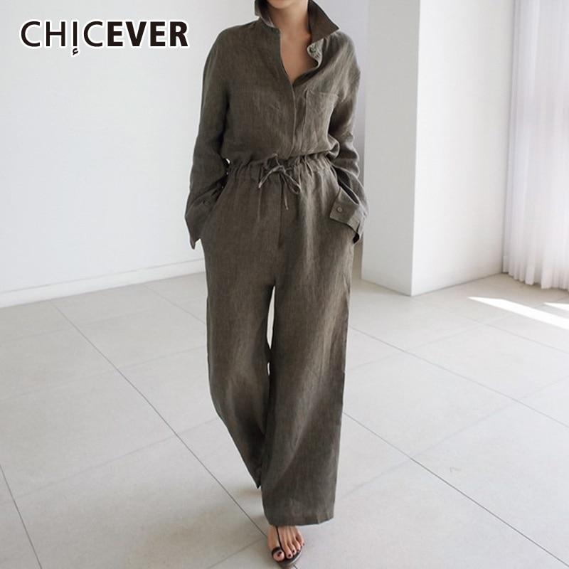 CHICEVER été Vintage combinaison femmes revers col demi manches Bandage arc lâche pleine longueur grande taille combinaisons mode nouveau