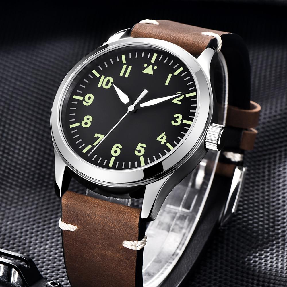 Saatler'ten Mekanik Saatler'de Moda Corgeut askeri erkekler otomatik lüks marka spor tasarım saat deri kendini rüzgar miyota 8215 mekanik bilek saatler'da  Grup 1