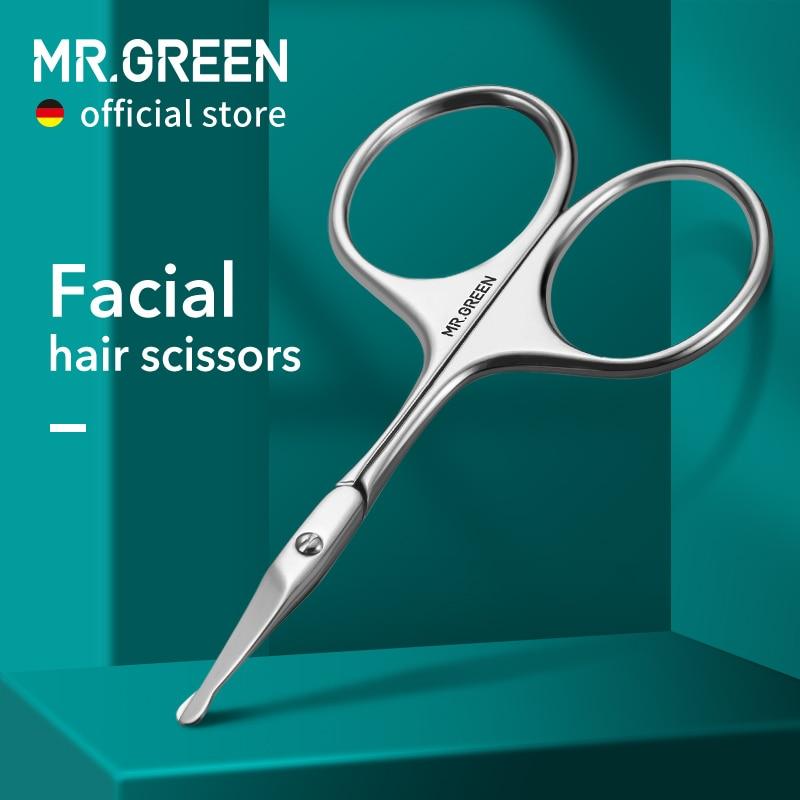 mr verde tesoura de cabelo facial arredondado profissional aco inoxidavel bigode nariz cabelo barba sobrancelhas cilios